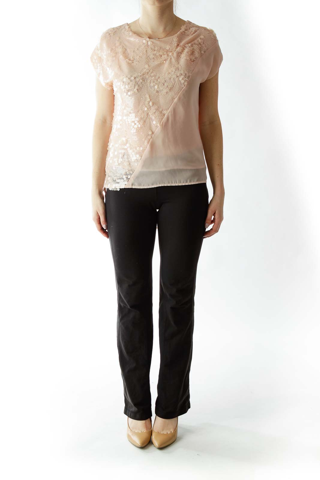 Light Pink Sequined Loose Blouse