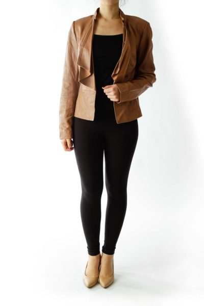 Brown Open Leather Jacket