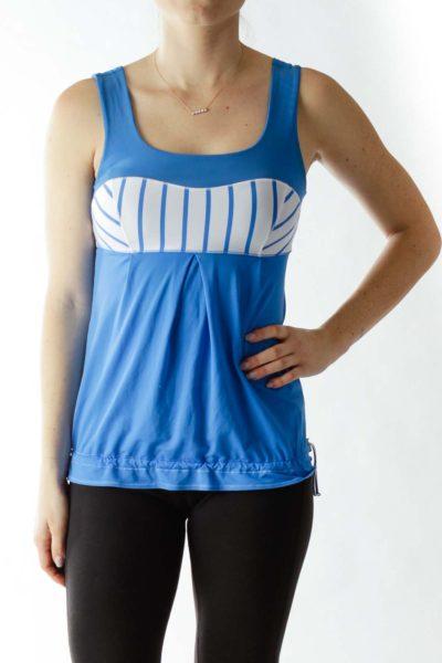 Blue White Striped Color Block Yoga Top