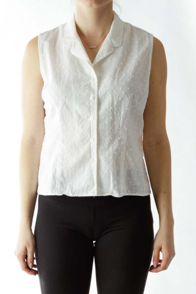 White Sleeveless Blouse with Textured Dot Details ...