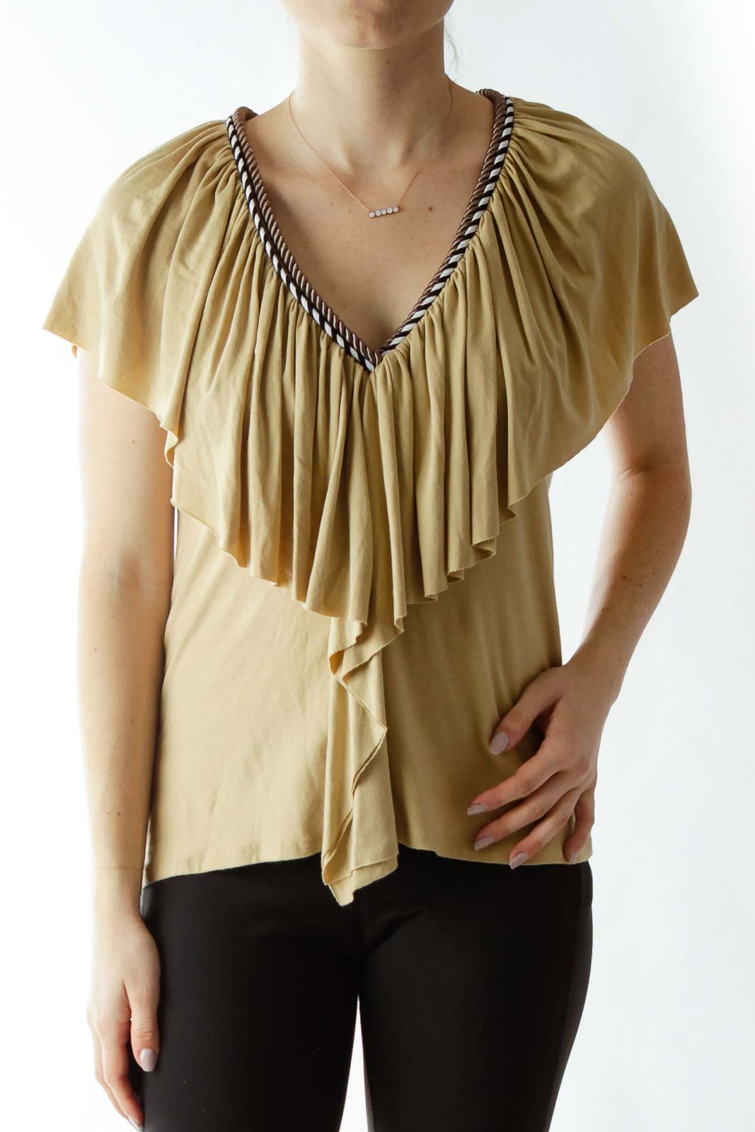 Beige Ruffled Top with Neck Rope Detailing