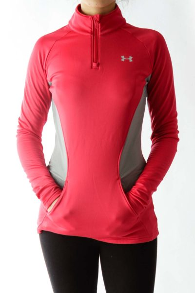 Hot Pink Gray Zippered High-Neck Sports Top