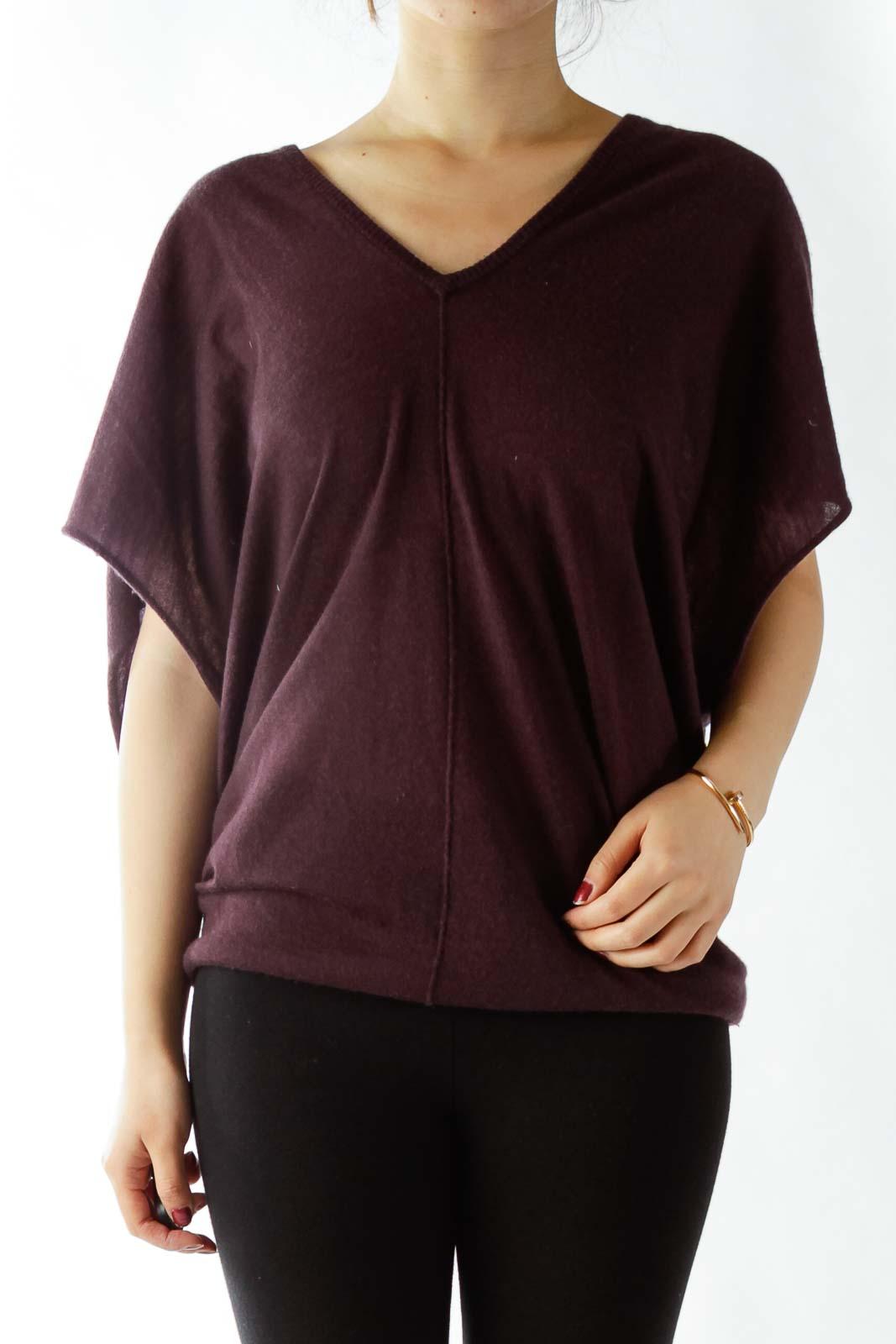 Purple V-Neck Loose Cashmere Top
