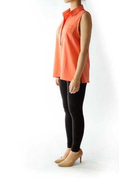 Orange Pocketed Tank Top