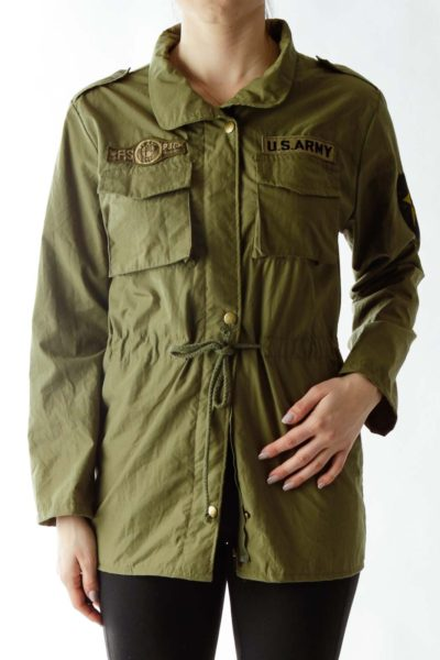 Green Graphic Print Jacket