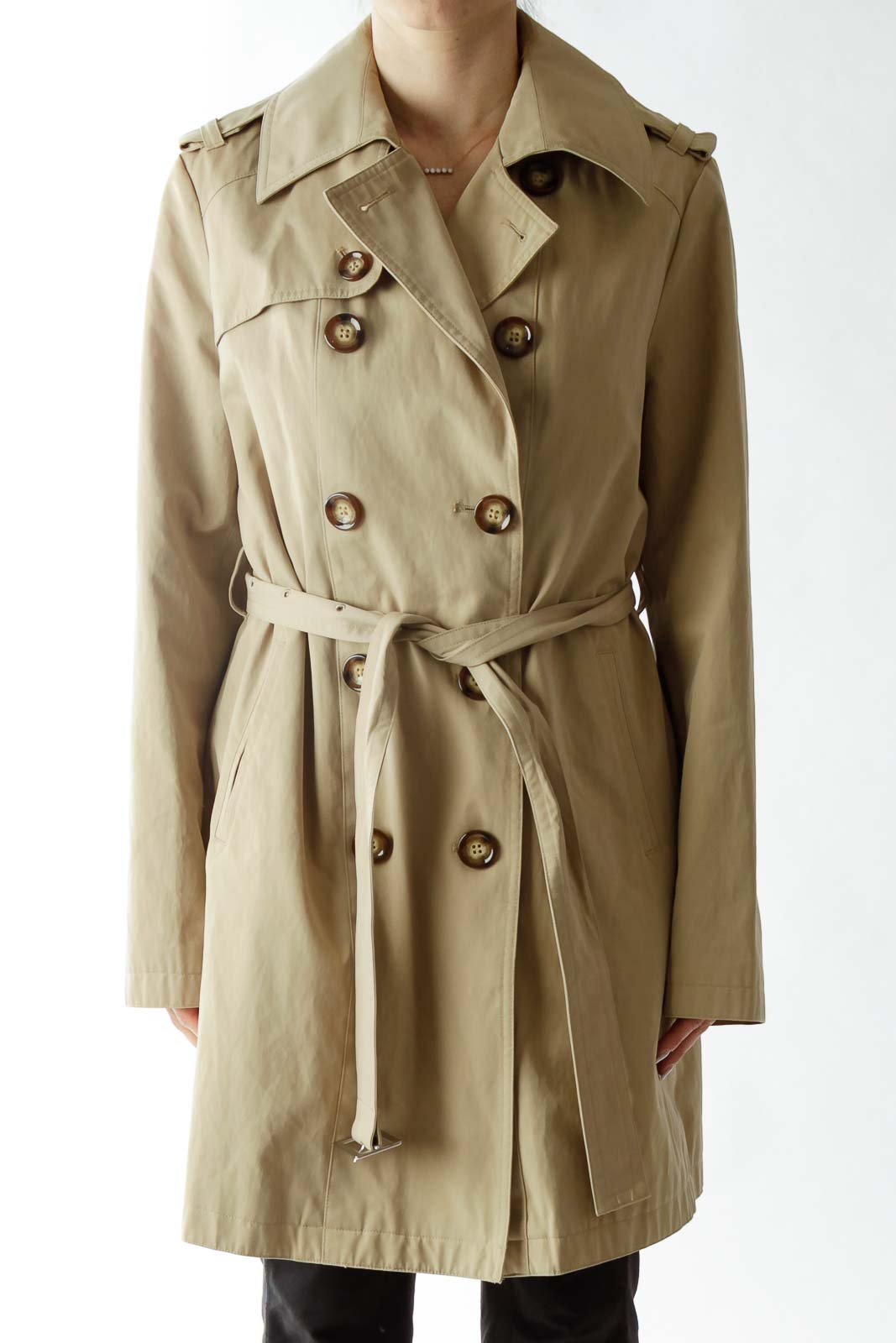 Beige Double-Breasted Belted Trench Coat