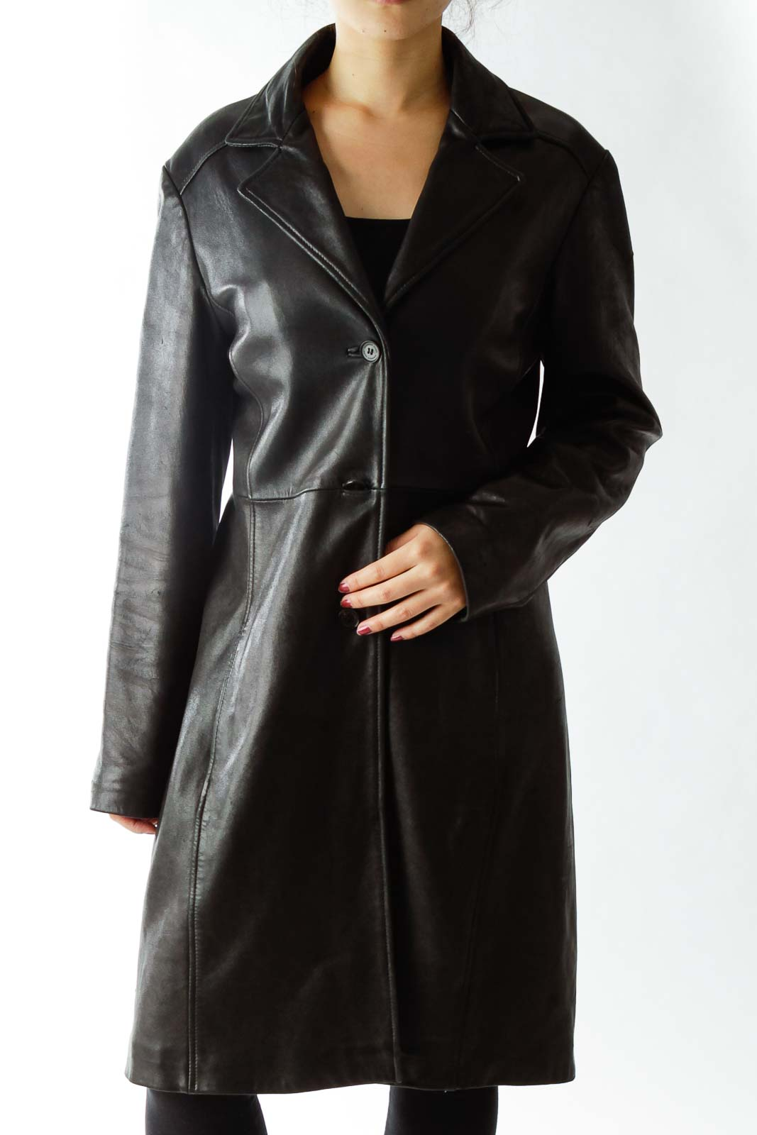 Black Singled Breasted Leather Coat