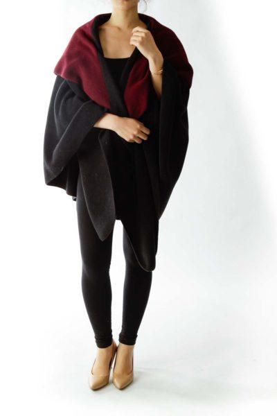 Black Red Fleece Open Cape