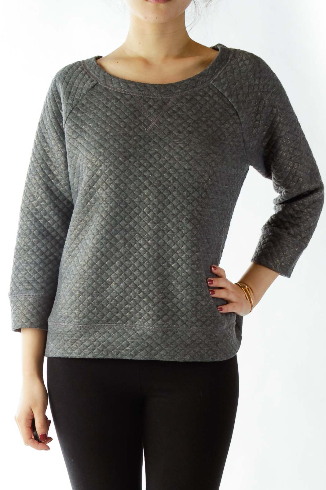 Gray Metallic Textured Sweatshirt