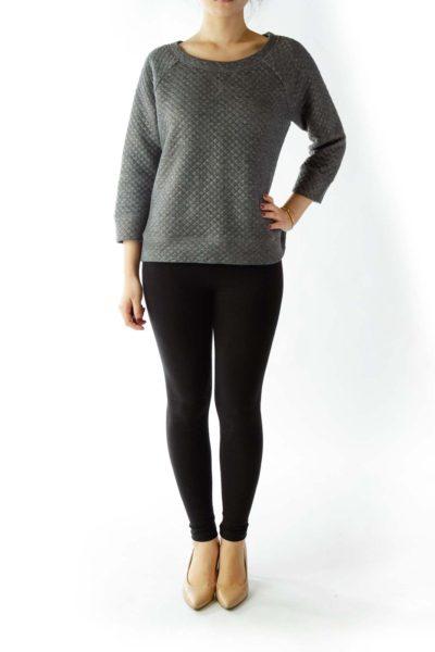 Gray Metallic Textured Sweatshirt
