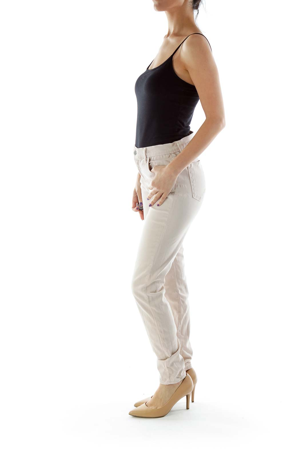 Pink High-Waisted Skinny Jeans