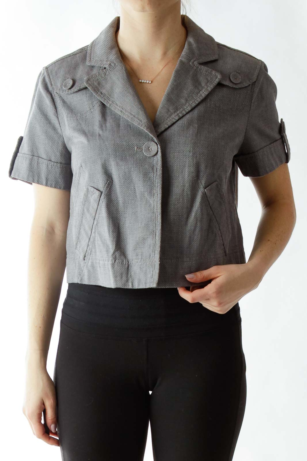 Gray Cropped Buttoned Jacket