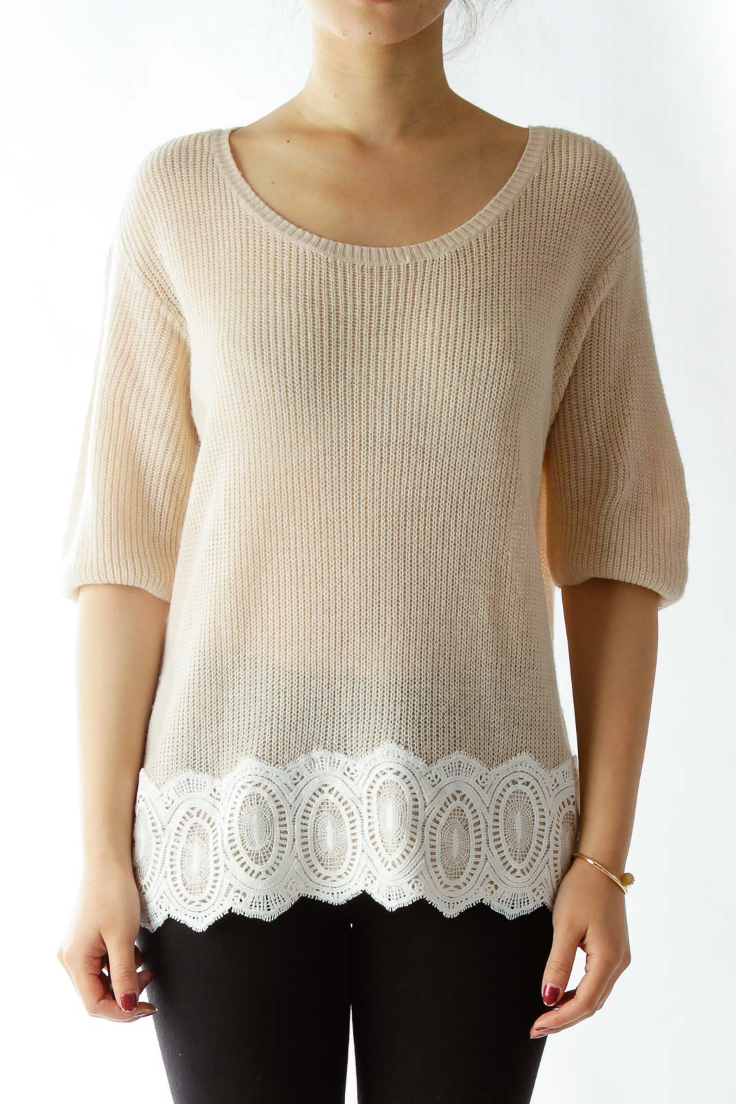 Pink Lace Knit Top