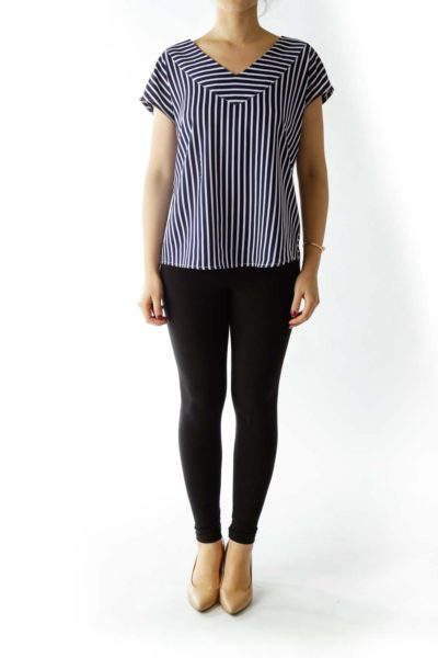 Navy and White Striped Blouse