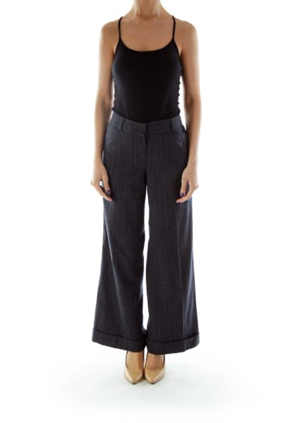 Gray Mottled Wide Leg Pants