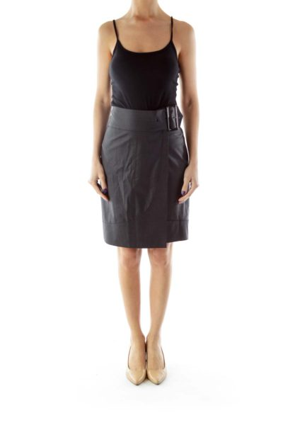 Black Wrapped Belted Pencil Skirt
