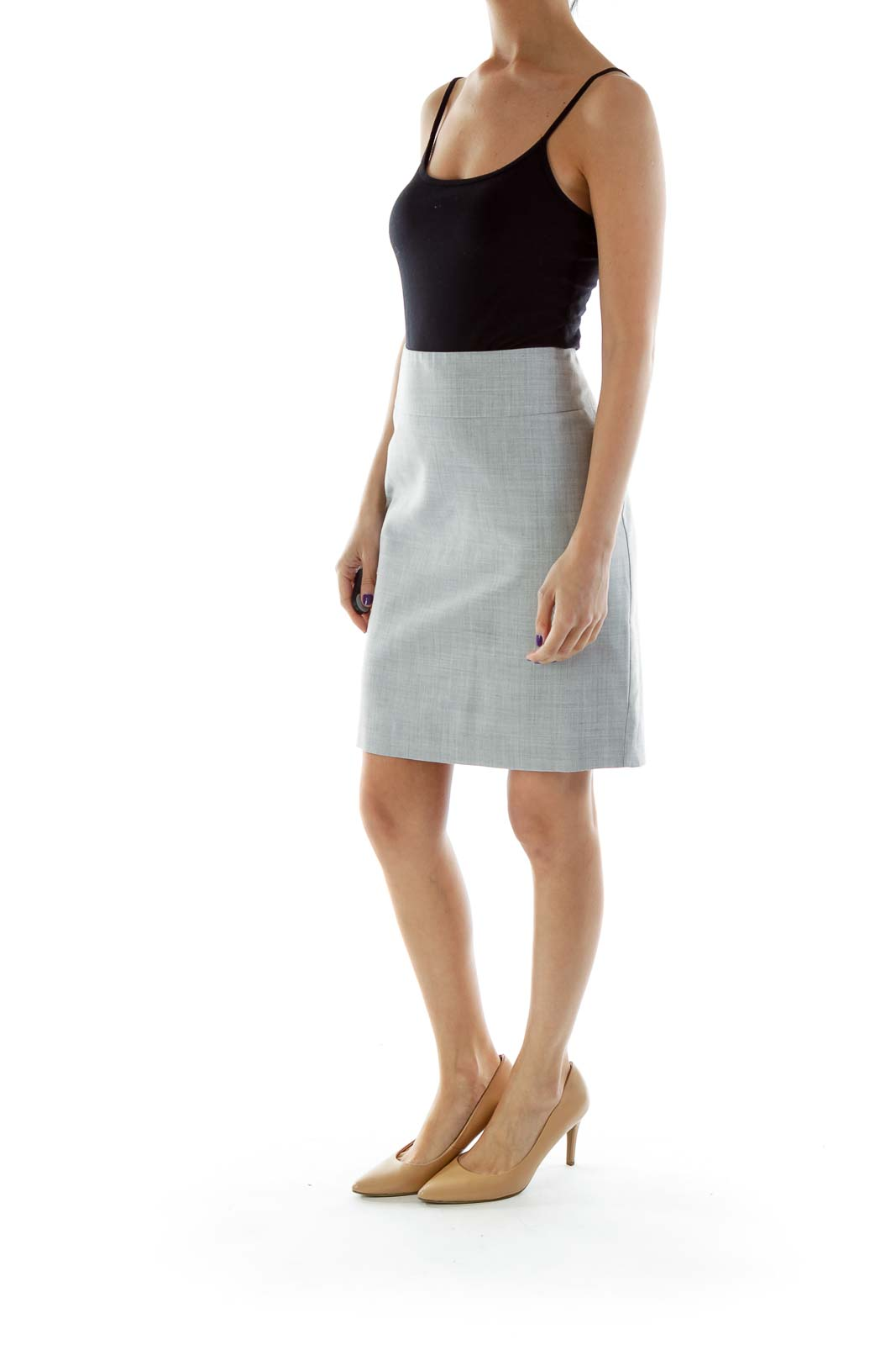 Gray Pencil Work Skirt