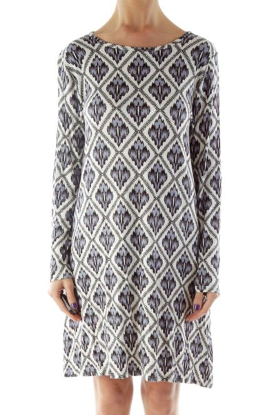 Blue Black White Printed Dress