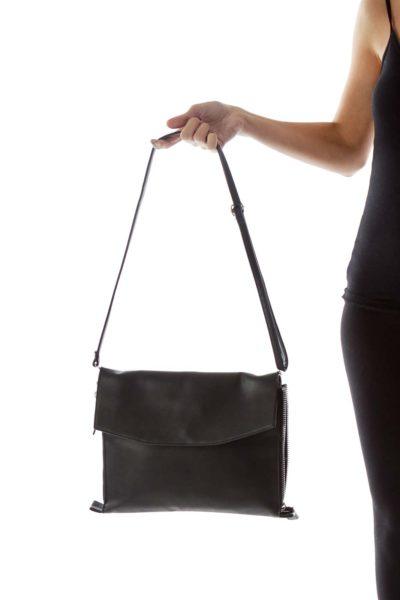 Black Zippered Cross Body Bag
