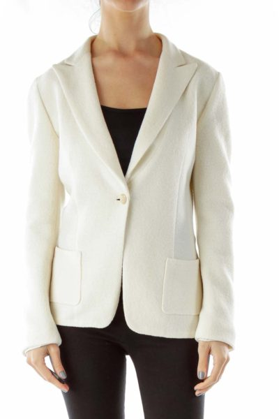 Cream Single-Breasted Wool Blazer