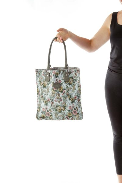 Flower Embroidered Tote