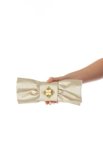 Champaign Faux-Satin Bow Clutch with Gold Hardware