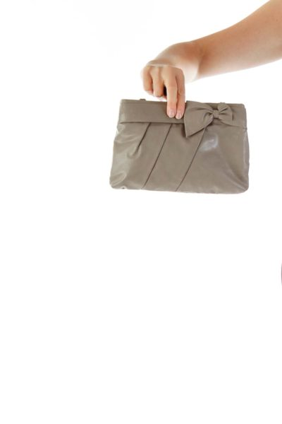Gray Pleated Crossbody with Bow Detail