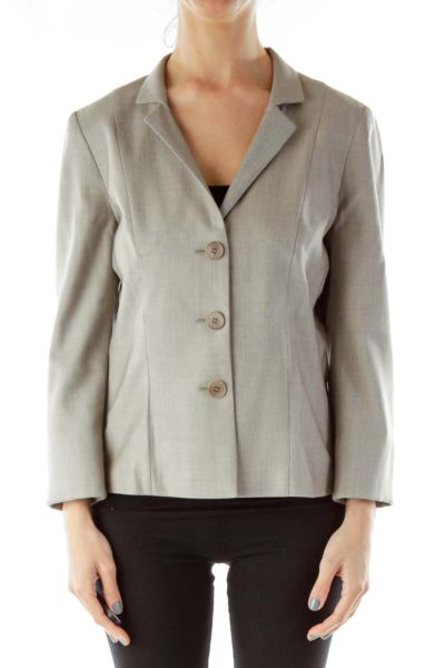 Gray Single-Breasted Suit Jacket