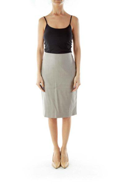 Gray Pencil Midi Suit Skirt