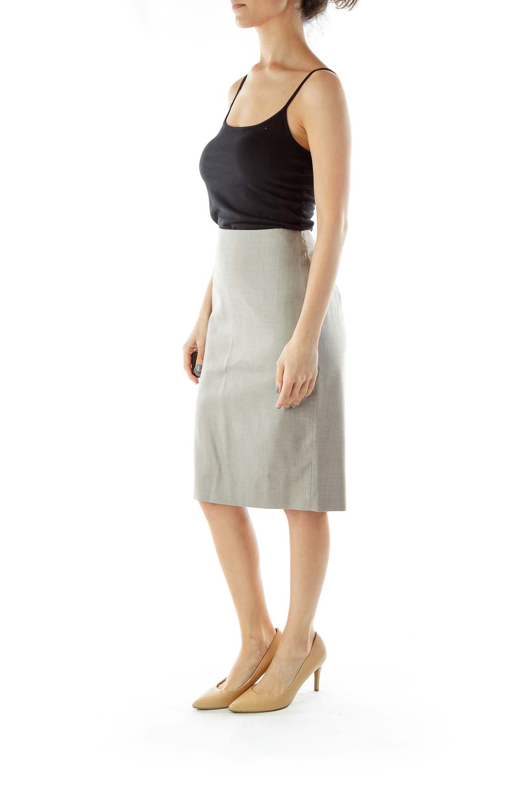 Gray Pencil Midi Suit Skirt