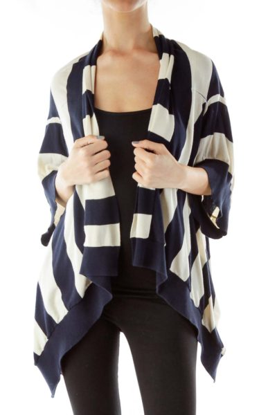 Cream Navy Loose Cardigan