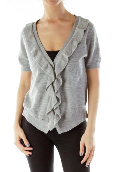 Gray Merino Wool Cardigan