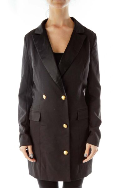 Black Long Coat with Gold Buttons