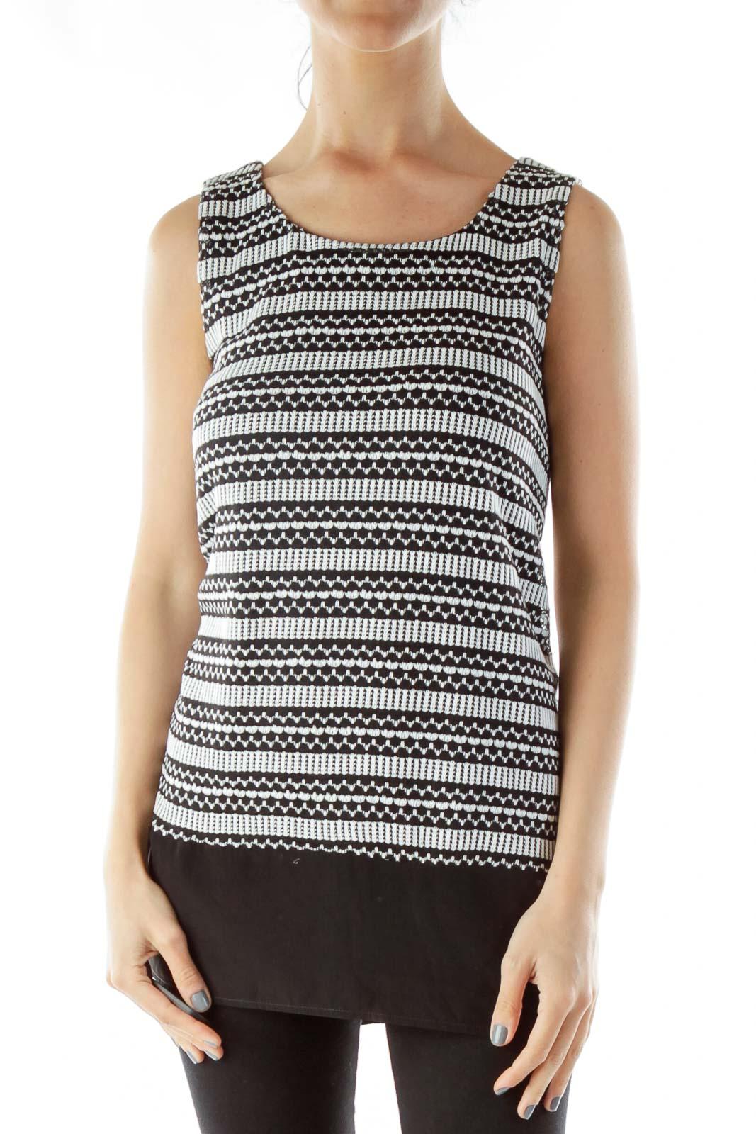 Black White Knit Print Loose Dress