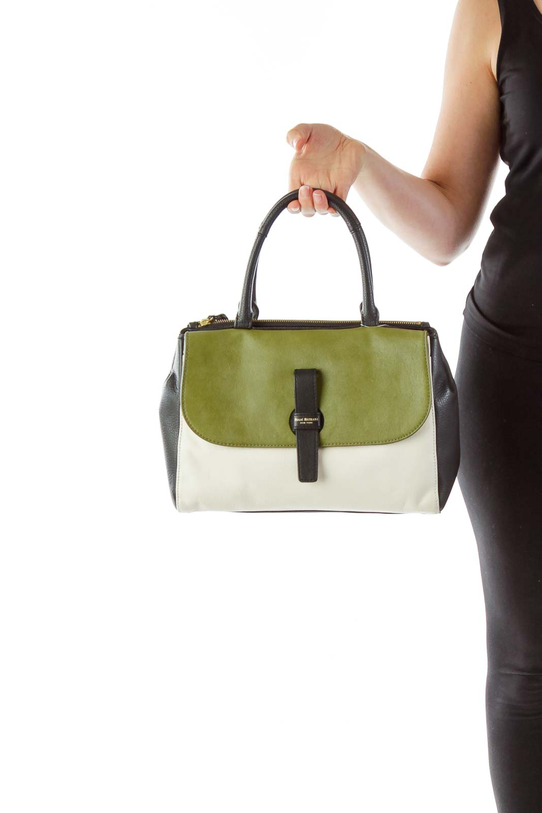 Olive Cream Black Hand Bag