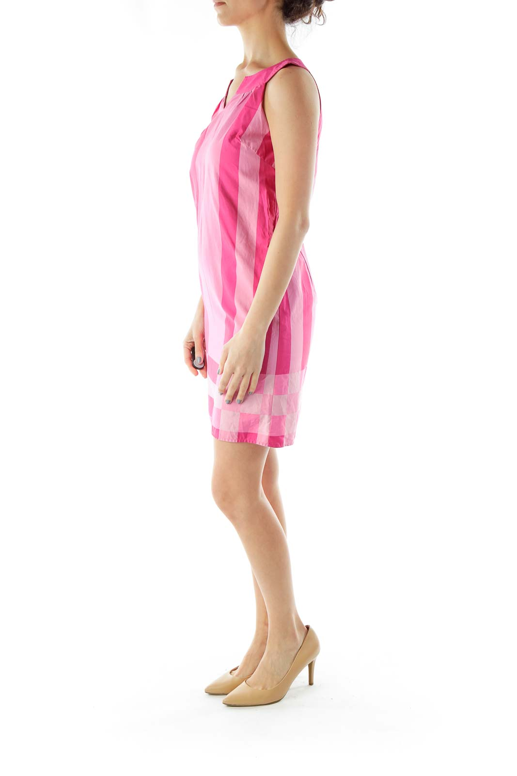 Pink Striped Shift Dress