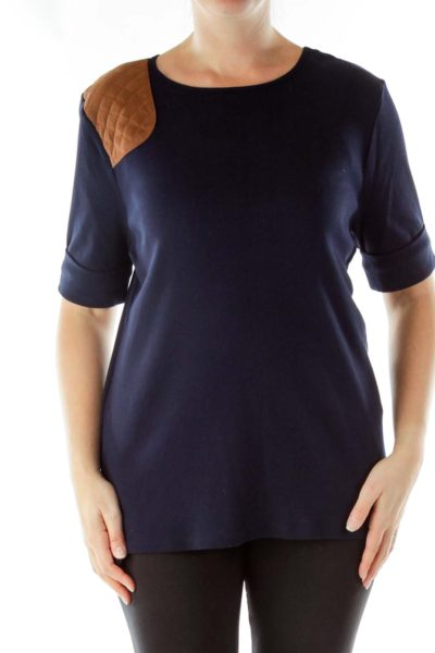 Navy Ribbed Shirt with Faux Suede Detail