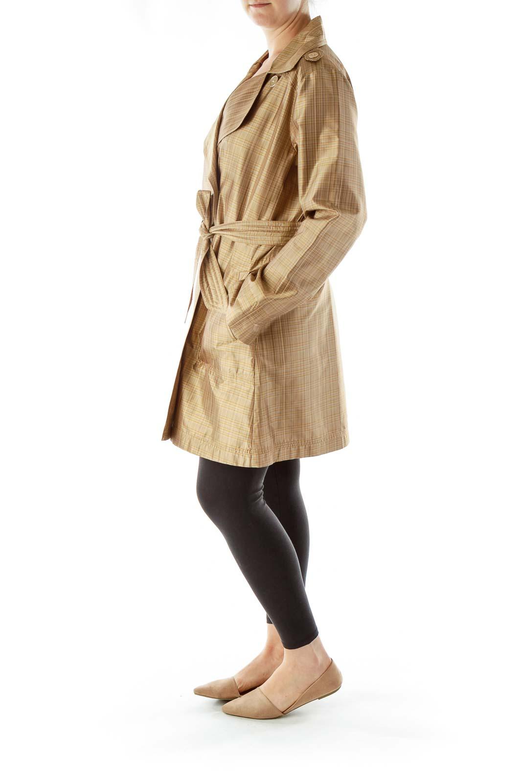 Beige Plaid Silk Trench Coat