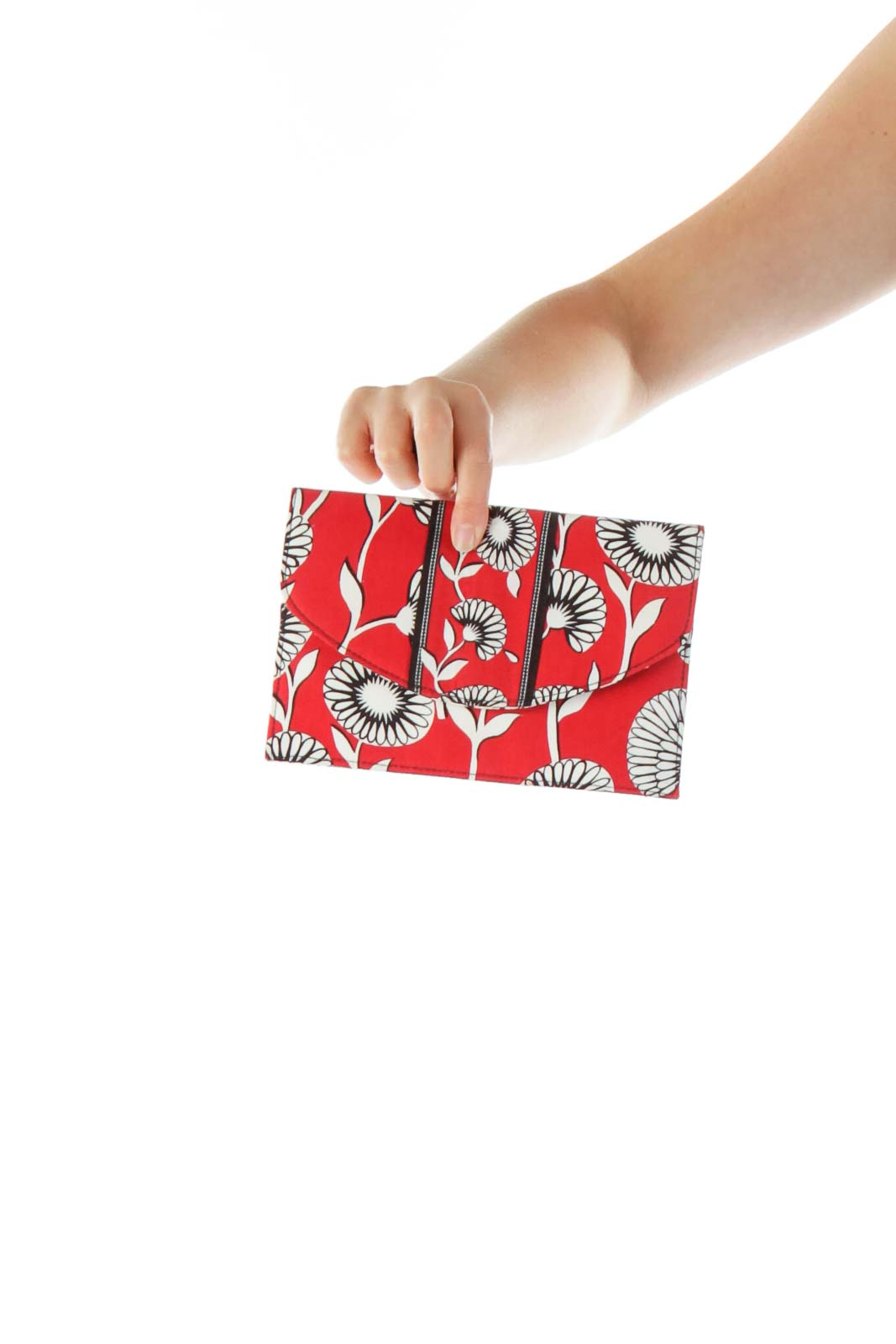 Red White Black Flower Print Clutch