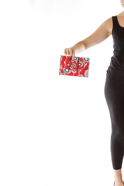 Red White Black Flower Print Clutch