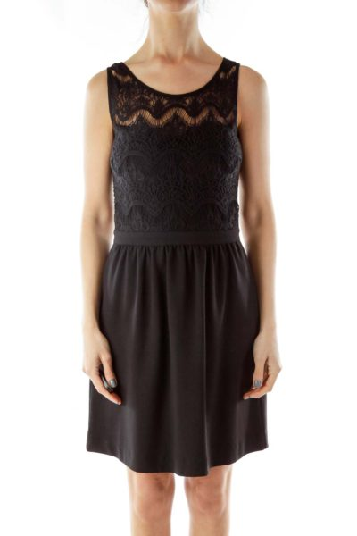Black Lace-Bodice Cocktail Dress
