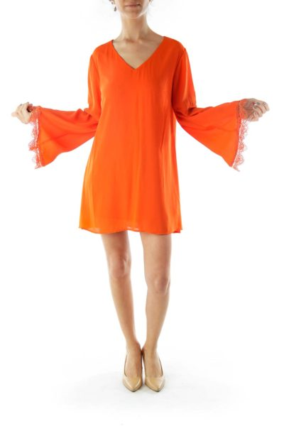 Orange Loose Blouse with Lace Edging