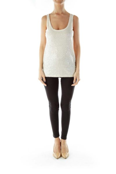 Cream Sequined Tank
