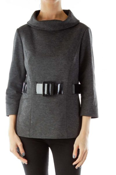 Gray Belted Pullover Jacket