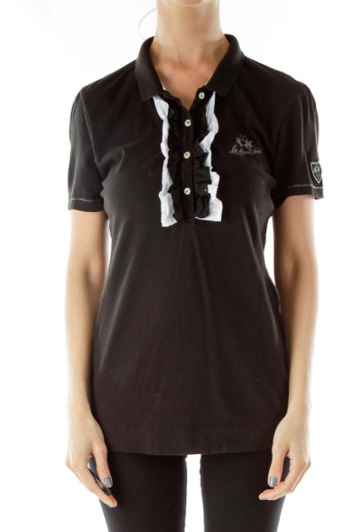 Black White Buttoned Embroidered Polo Shirt
