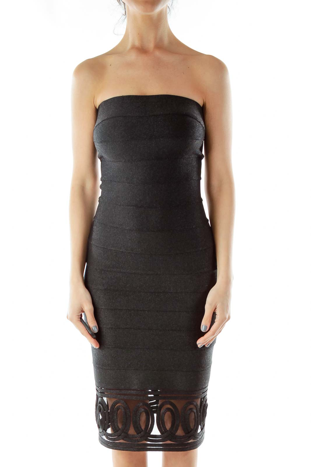 Black Metallic Bodycon Dress