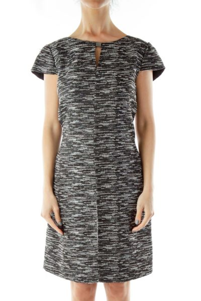 Black White Mottled Cut-Out Cap-Sleeve Dress