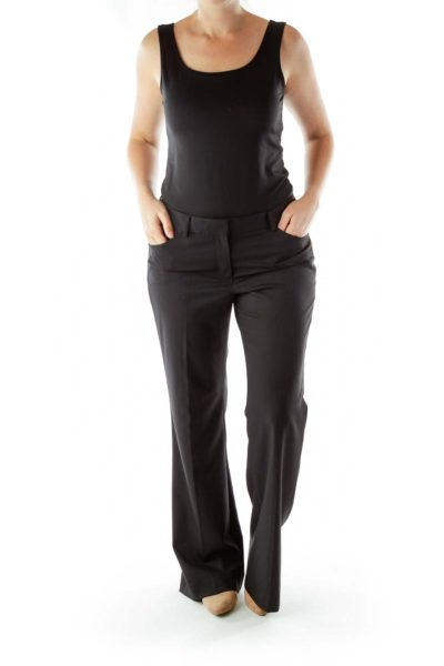 Black Wide-Leg Slacks