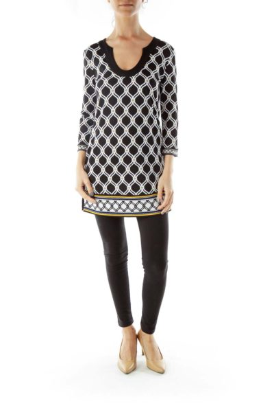 Black White Yellow Geometric Print Dress