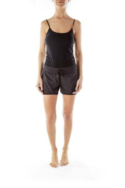 Black Layered Drawstring Sports Shorts